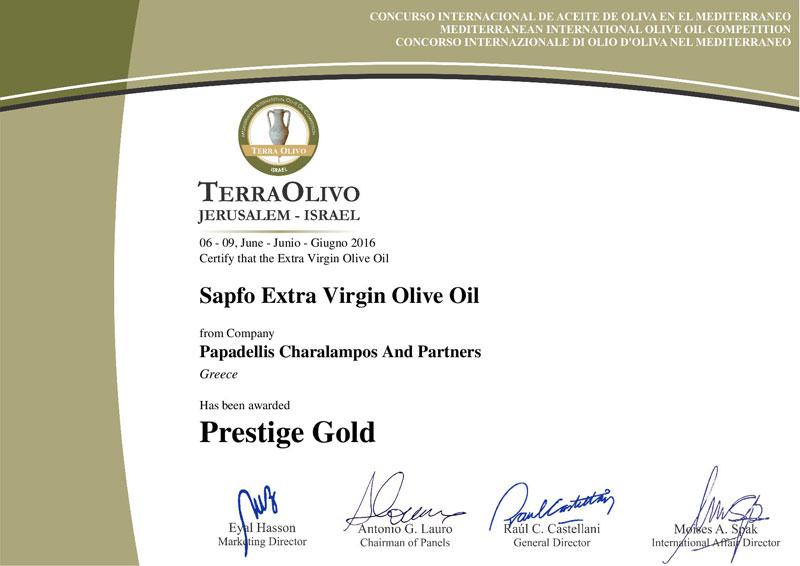 CERTIFICATE FOR GOLD AWARD FROM TERRAOLIVO 2016 FOR SAPFO