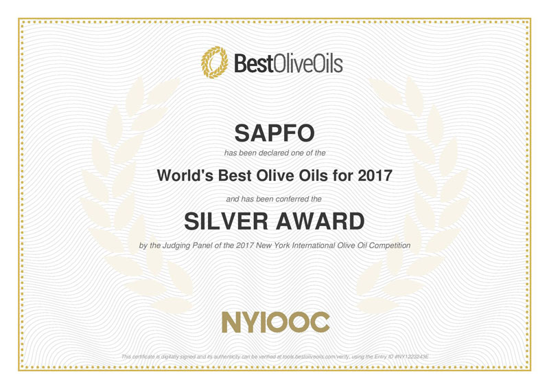 SILVER AWARD CERTIFICATE FROM NYIOOC 2017 FOR SAPFO LIMITED