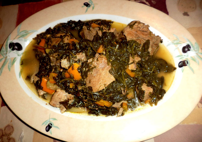COOKING WITH OLIVE OIL : PORK WITH SPINACH