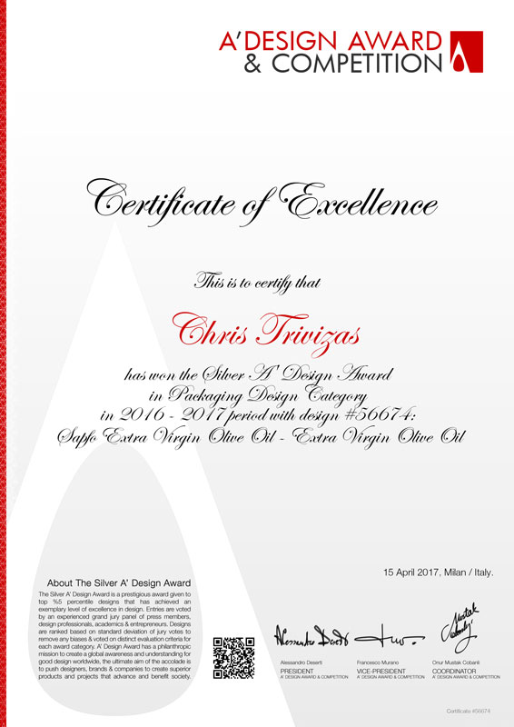 CERTIFICATE FROM A'DESIGN FOR SAPFO LIMITED