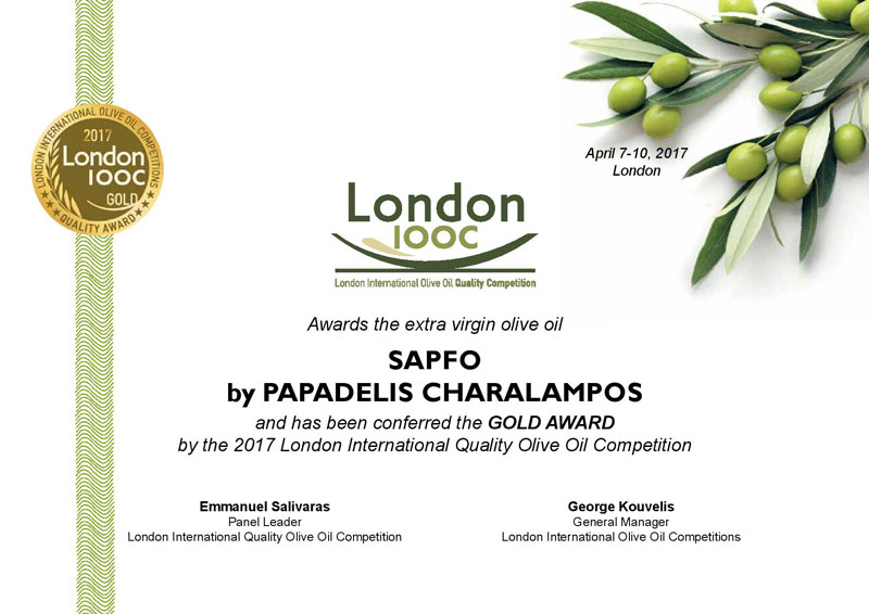 GOLD AWARD CERTIFICATE FROM LONDON IOOC 2017 FOR SAPFO LIMITED