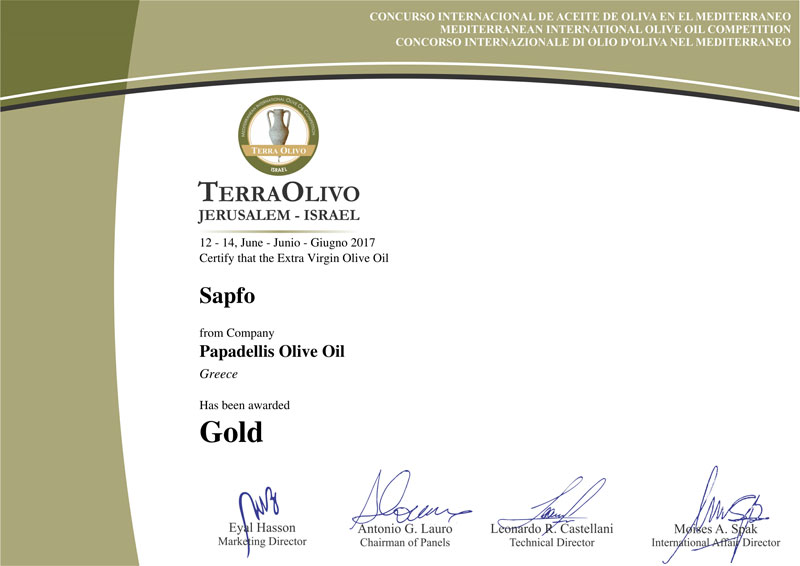 Gold Award Certificate from TerraOlivo 2017 for Sapfo Limited